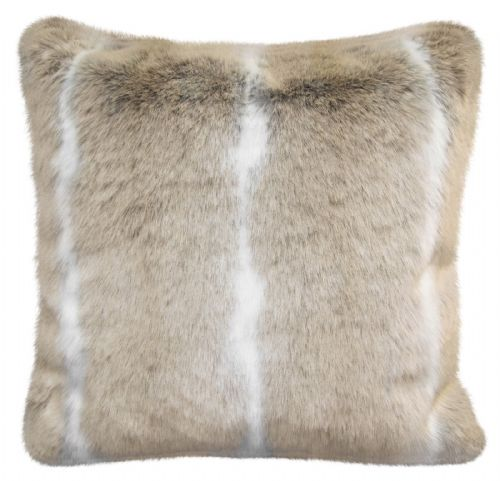 Luxury Faux Fur Sofa Scatter Cushion Super Soft Arctic Cosy Cuddly Feel, 56cm x 56cm, Husky Stripe